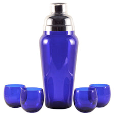 Vintage Cobalt Blue Glass Cocktail Set, The Hour Shop