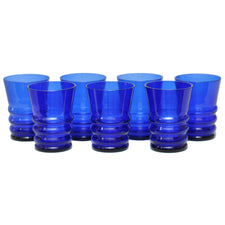 Vintage Cobalt Blue Art Deco Tumblers, The Hour Shop Glassware