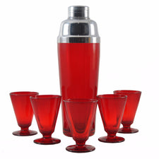 Ruby Red Glass Deco Vintage Cocktail Shaker Set, The Hour