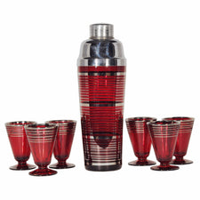 Vintage Red Silver Cocktail Shaker Set, The Hour Shop