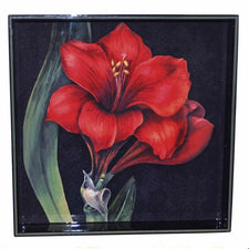 Red Amaryllis Square Lacquer Tray, The Hour Shop Barware
