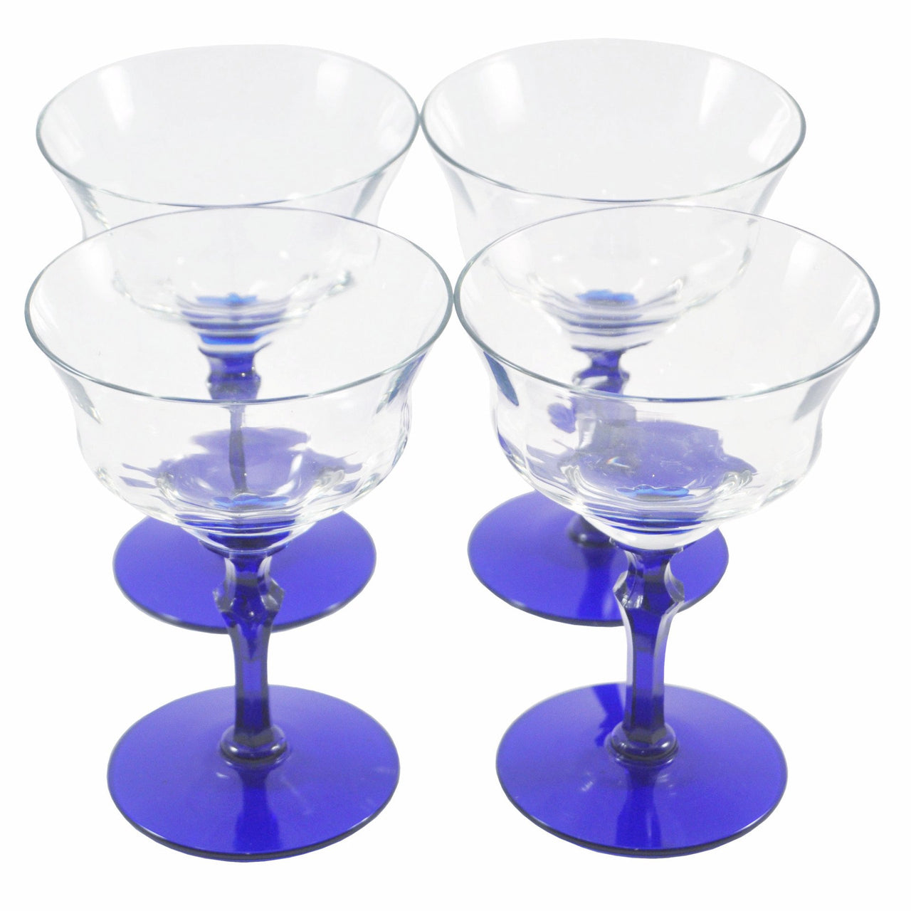 Vintage Cobalt Blue Stem Coupe Glasses, The Hour
