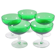 Vintage Green Cup Clear Stem Coupe Glasses, The Hour