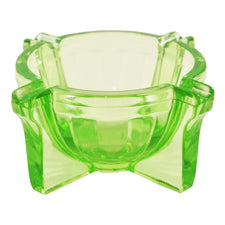 Art Deco Vintage Green Vaseline Glass Ashtray, The Hour