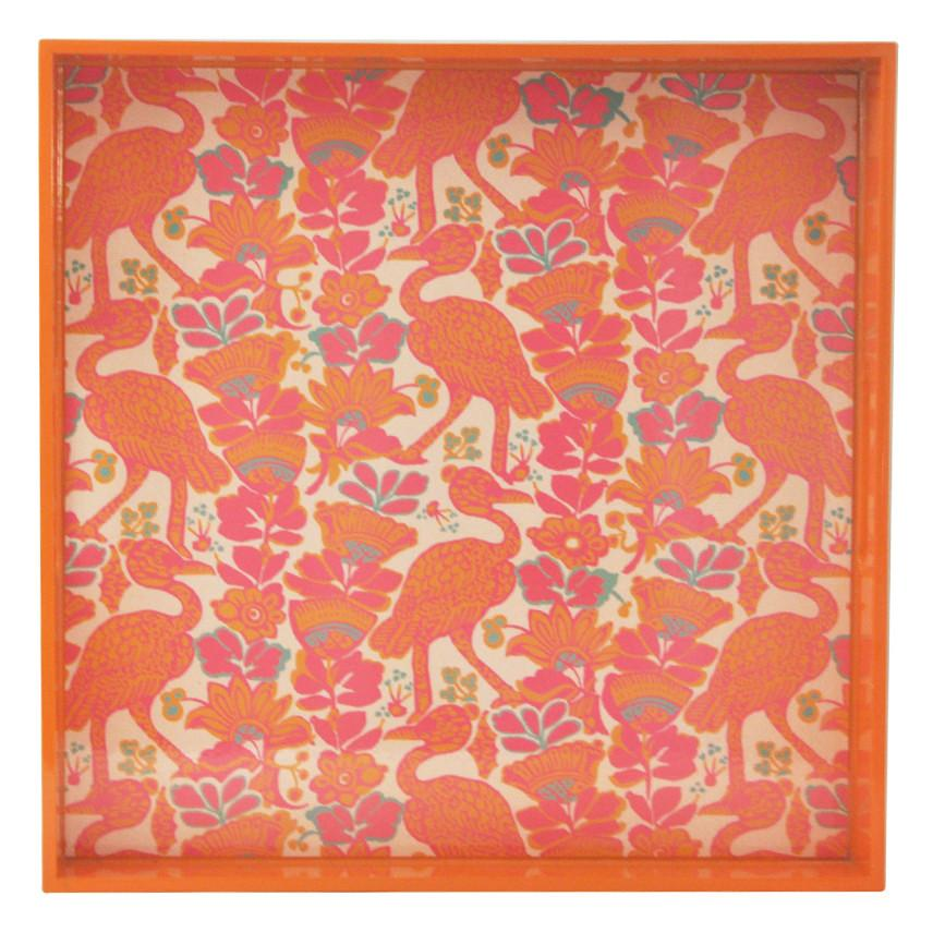 Orange & Pink Crane Lacquer Tray, The Hour Shop