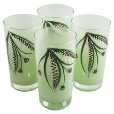 Hand Painted Light Green Frosted Collins Glasses, The Hour Shop Vintage Cocktail Glasses