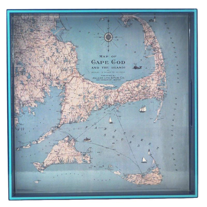 Cape Cod Map Blue Lacquer Tray, The Hour Shop Trays