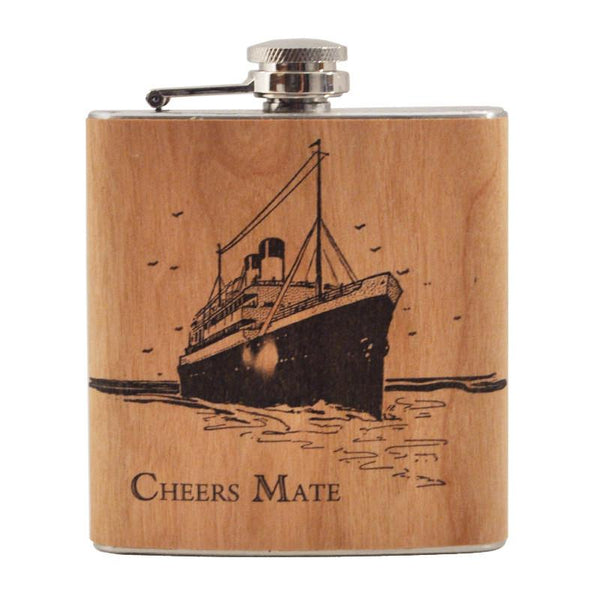 Cheers Mate Spitfire Girl Wood Wrap Flask, The Hour Shop Barware