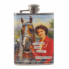 Anne Taintor Lead A Horse To Tequila Flask, The Hour Shop Barware