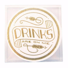 Drinks Are On Me Paperboard Coasters, The Hour Shop Barware