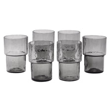 Stackable Smoke Glass Footed Rocks Glasses