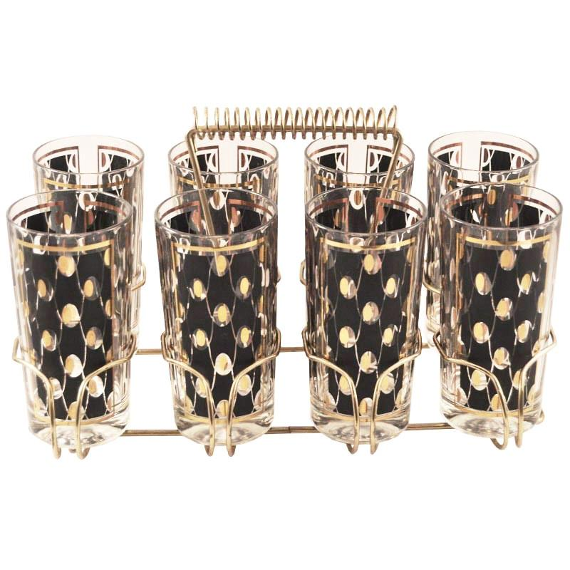 Black & Gold Ovals Collins Glass Caddy | The Hour Shop Vintage
