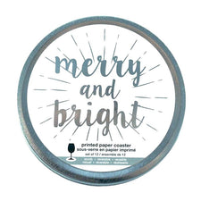 Merry And Bright Coasters Tin | The Hour Shop Christmas Barware