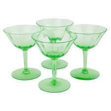 Vintage Green Vaseline Glass Coupes | The Hour