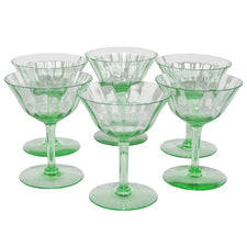 Vintage Green Paneled Vaseline Coupe Glasses, The Hour