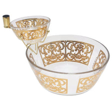 Georges Briard Gold Scroll Chip & Dip Set, The Hour Shop Vintage Barware