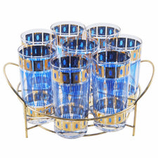 Fred Press Blue & Gold Collins Glass Caddy, The Hour Vintage