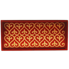 J. Fleet Designs Red, Gold Lacquer Cocktail Tray, The Hour