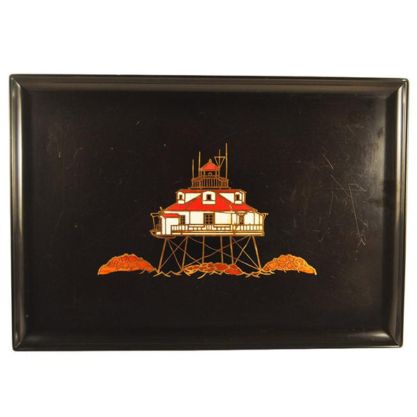 Vintage Couroc Black Red Lighthouse Tray, The Hour