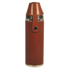 English Tan Leather Cylinder Flask