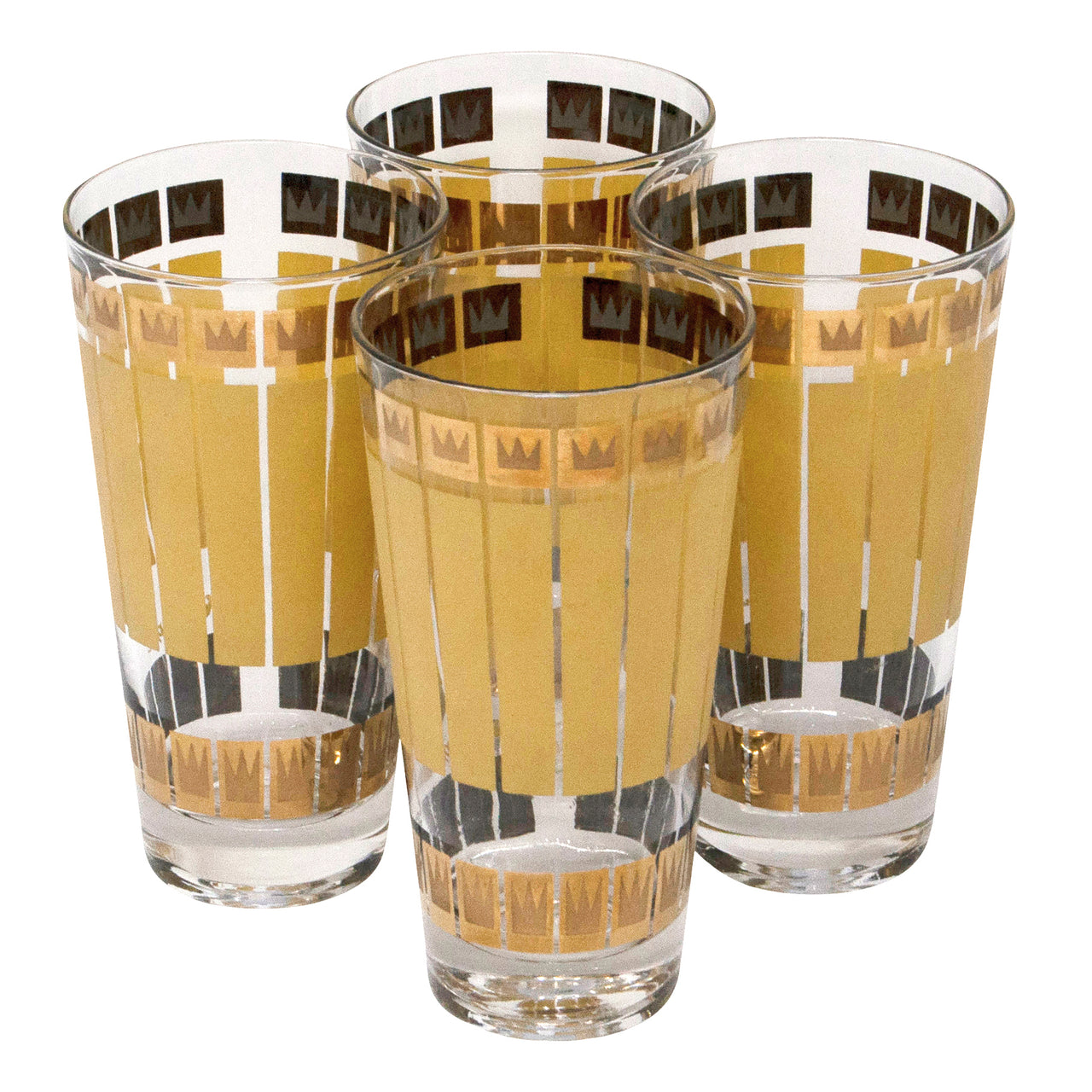 Fred Press Gold Crown Yellow Stripe Collins Glasses | The Hour Shop