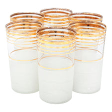 Vintage Frost & Gold Bands Tumblers | The Hour Shop