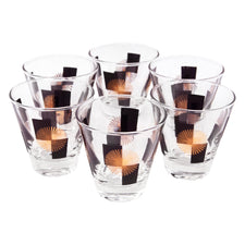 Vintage Black Block Gold Circle Single Old Fashioned Glasses | The Hour Shop