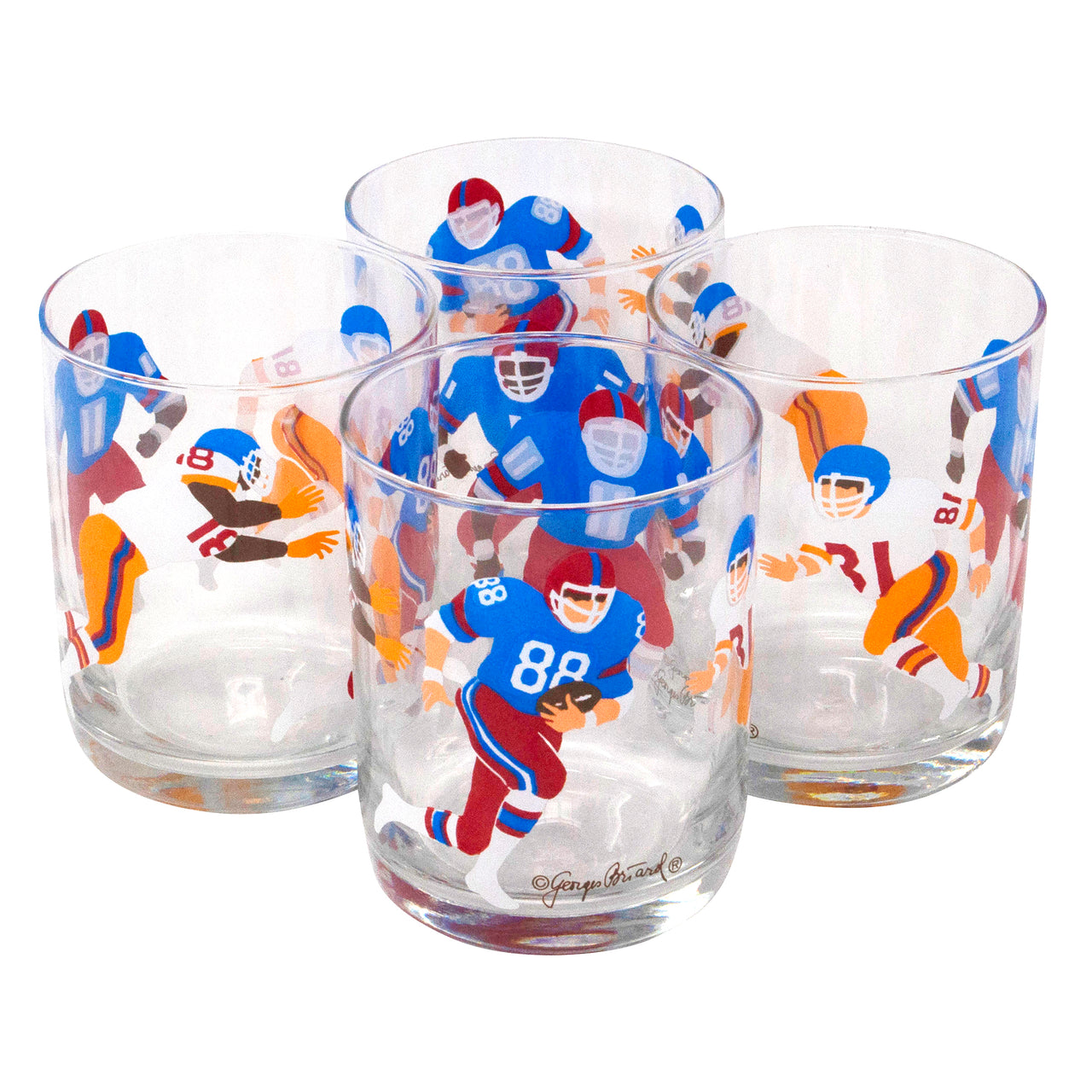 Vintage Georges Briard Football Player Rocks Glasses | The Hour Shop