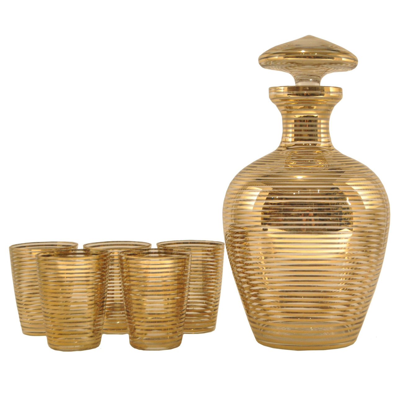 Gold Ring Art Deco Czech Decanter Set | The Hour Shop Vintage