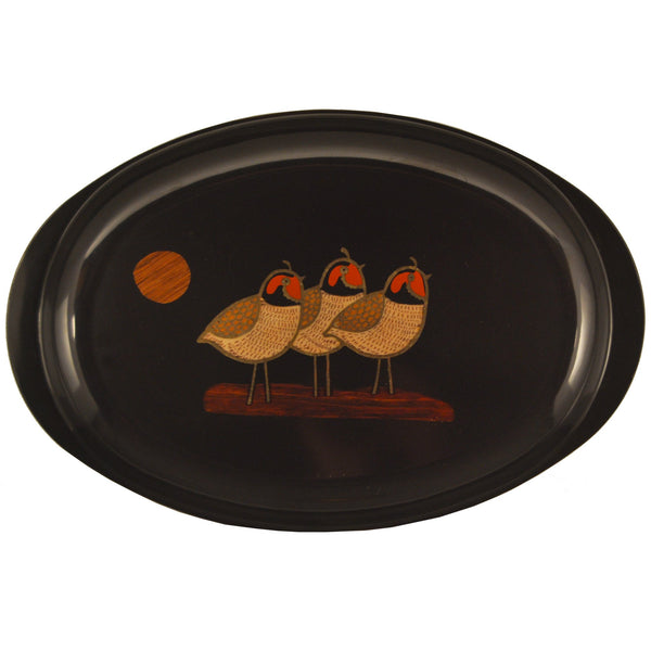 Couroc 3 Birds Oval Tray, The Hour Shop Vintage Barware