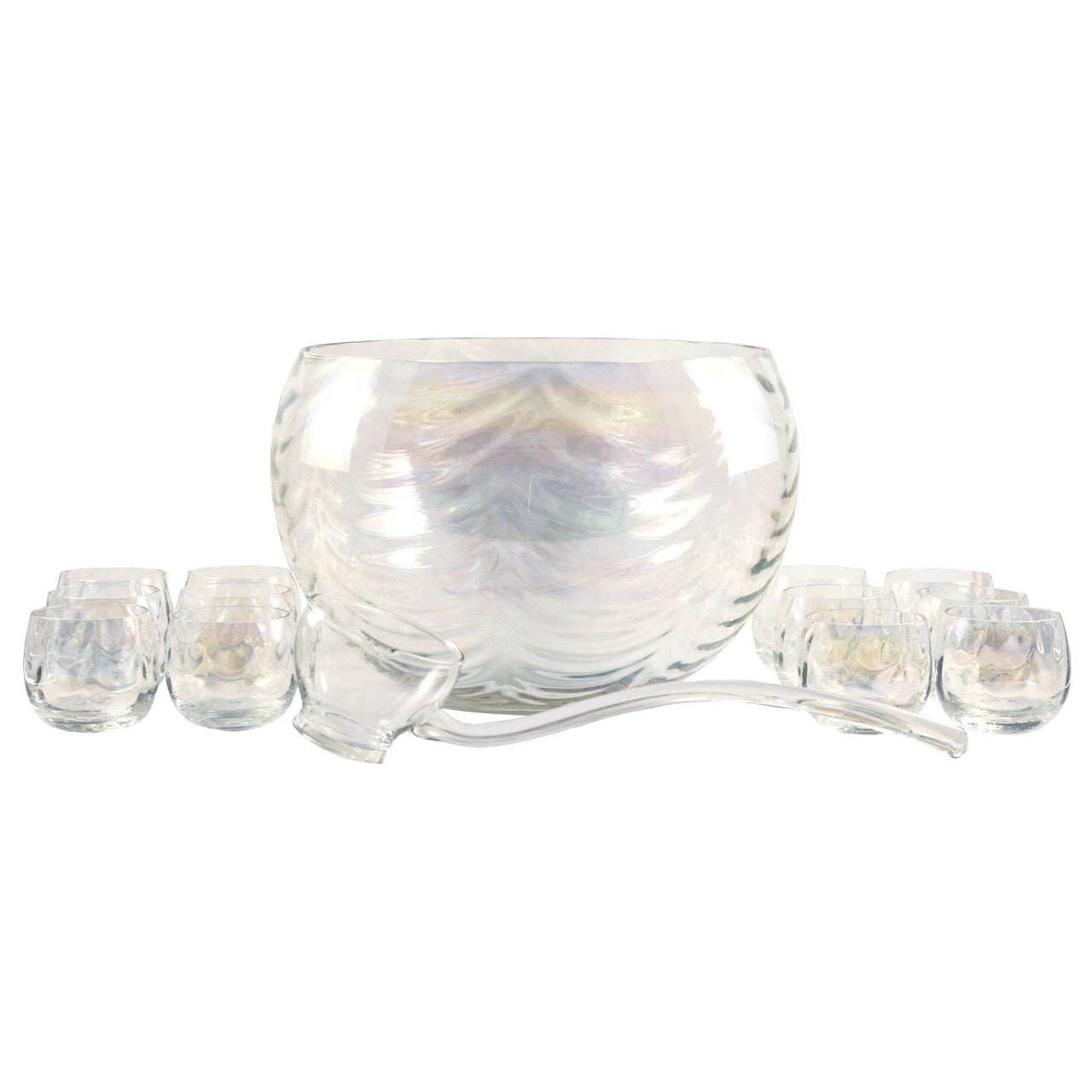 Vintage Iridescent Glass Punch Bowl Set, The Hour Shop