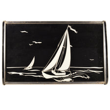 Black & White Vintage Art Deco Sailboat Tray, The Hour Shop