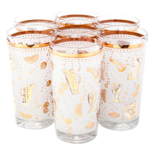 Vintage White & Gold Cocktail Motif Collins Glasses | The Hour Shop