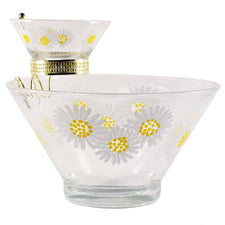 Vintage Daisy Chip & Dip Glass Bowl Set, The Hour Shop