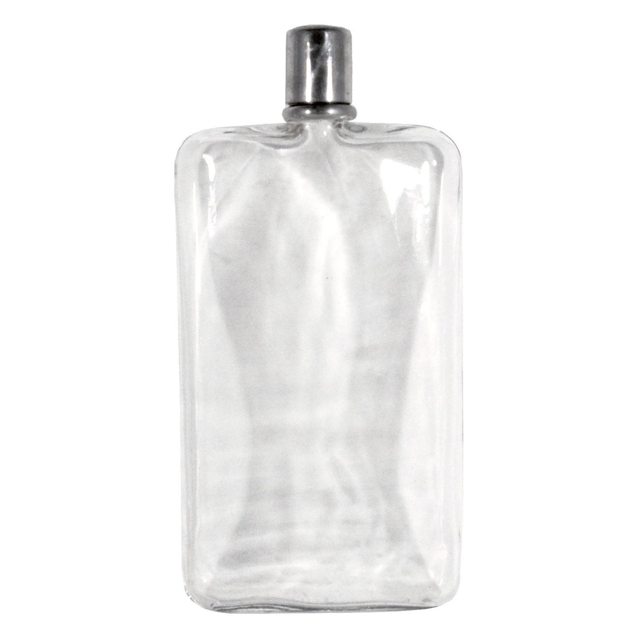 Clear Glass Chrome Top Flask | The Hour Shop Vintage Barware