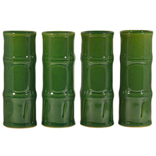 Vintage Libbey Green Bamoo Ceramic Tiki Mugs, The Hour Shop