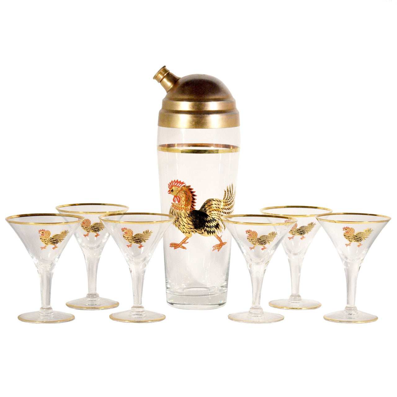 Vintage Gold, Red Rooster Cocktail Shaker Set, The Hour