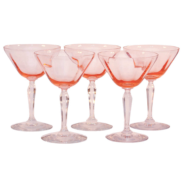 Vintage Pink Paneled Clear Stem Glasses, The Hour Shop Glassware