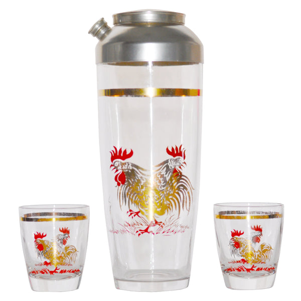 Gold & Red Rooster Cocktail Shaker Set, The Hour Shop Vintage