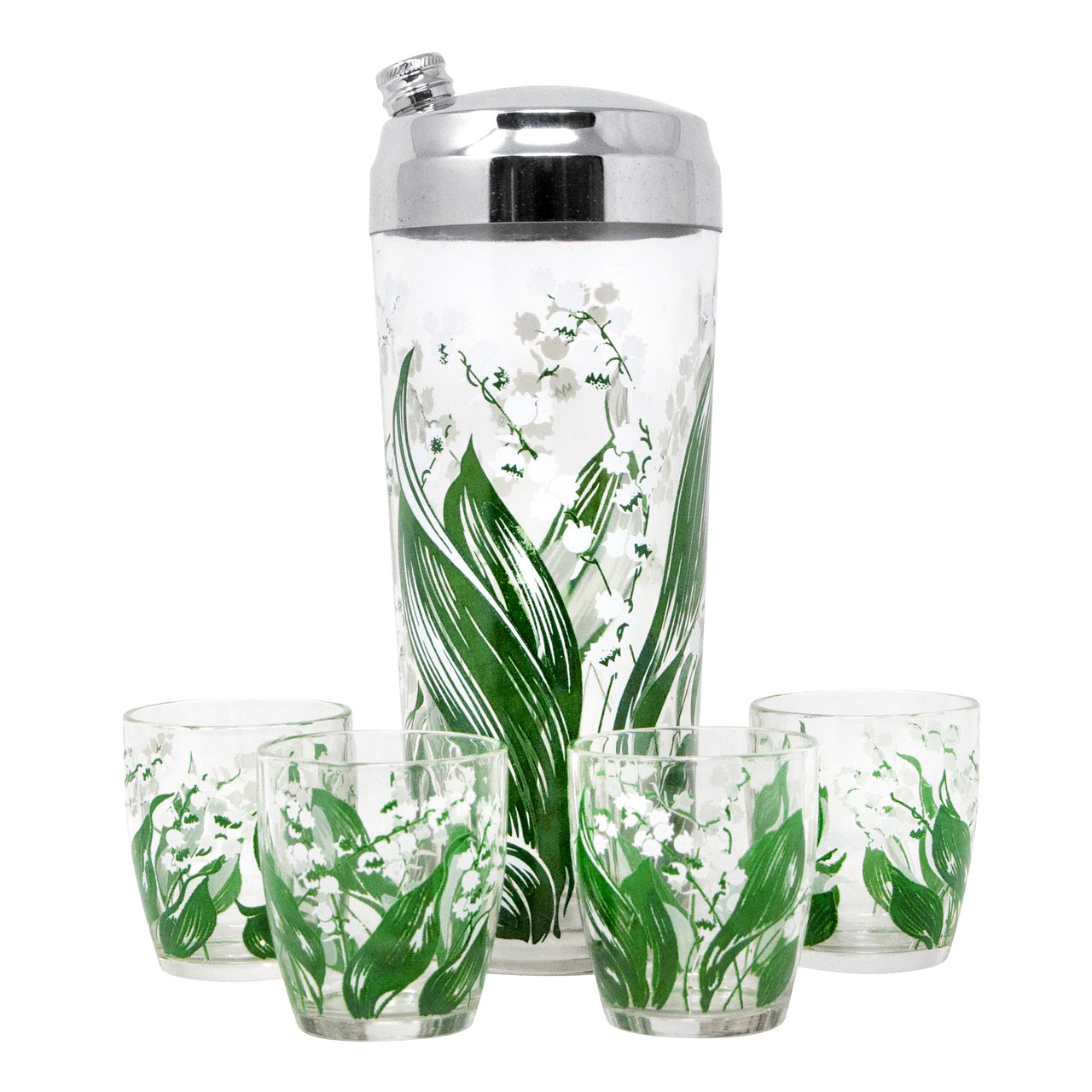 Vintage Hazel Atlas Lily of the Valley Cocktail Shaker Set Front | The Hour Shop