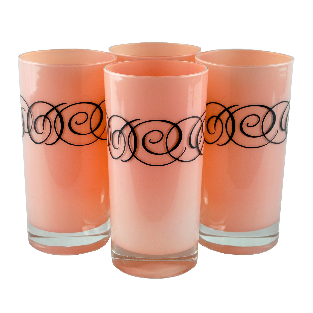 Pink & Black Swirl Collins Glasses | The Hour Shop Vintage