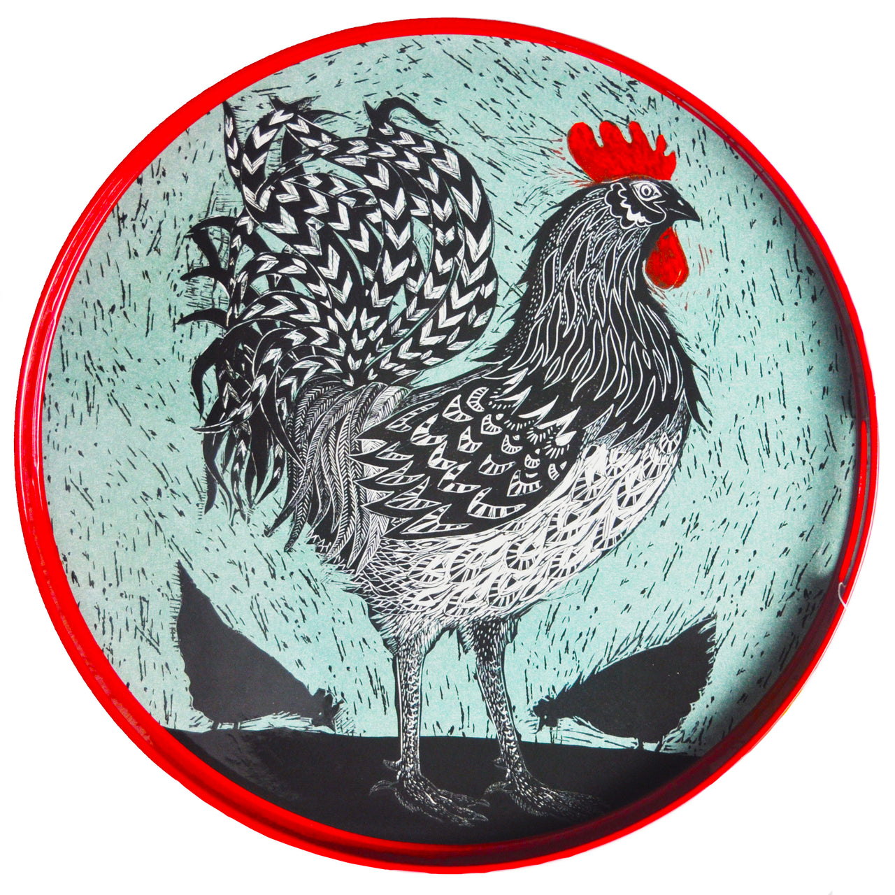 Round Lacquer Rooster Tray | The Hour Shop Home Decor