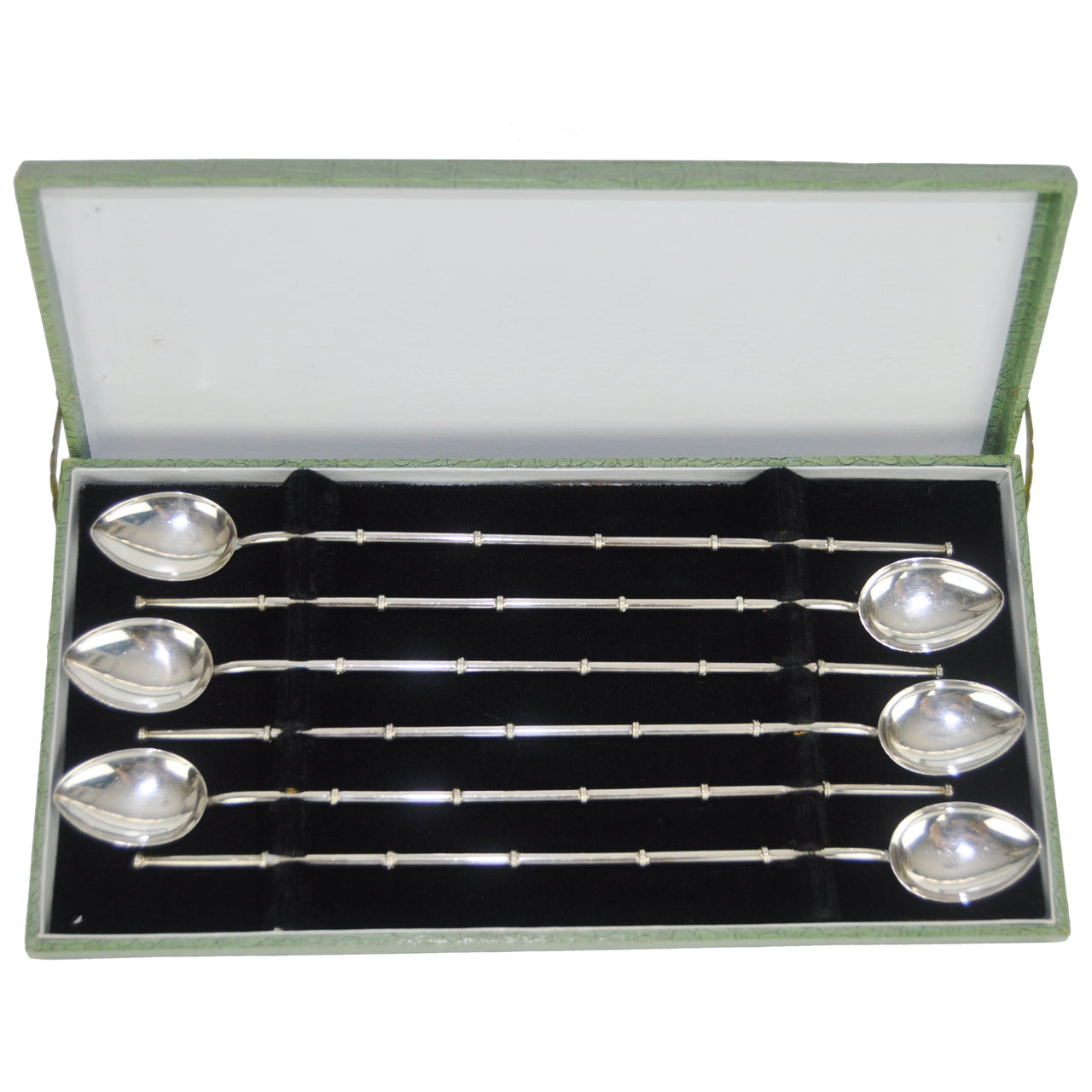 Vintage  Sterling Silver Bamboo Spoon Straws | The Hour