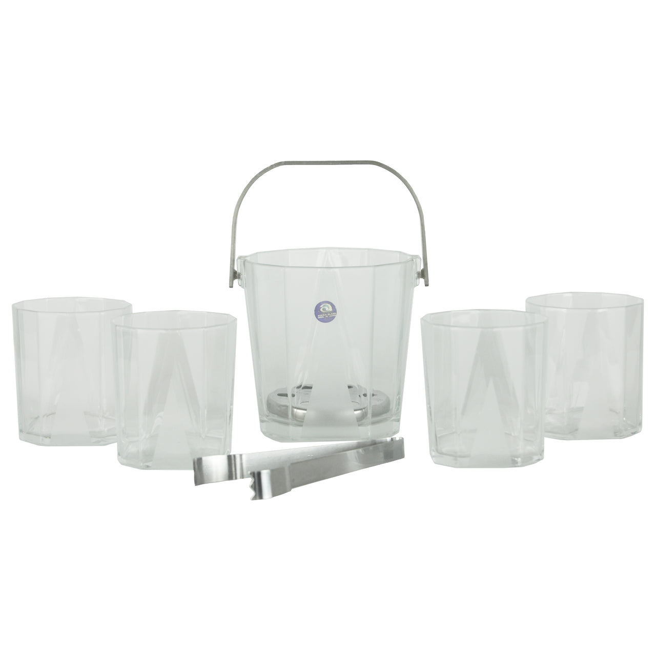 Frosted Ice Bucket & Rocks Glass Set | The Hour Shop Vintage