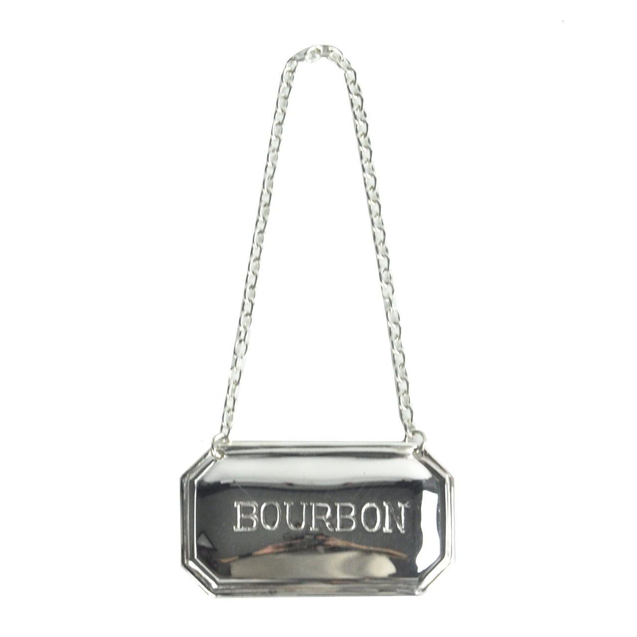 Silver Plate Bourbon Decanter Tag Label, The Hour Shop Barware