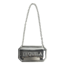 Silver Plate Tequila Decanter Label, Tag | The Hour Shop Barware