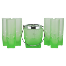 Green Frosted Ice Bucket & Glasses Set | The Hour Shop Vintage