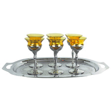 Farber Bros. Amber Glass Insert Chrome Tray Set | The Hour Vintage