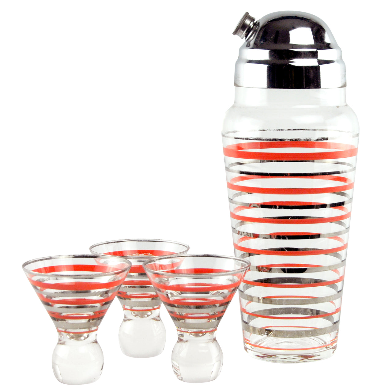 Vintage Red & Silver Stripe Cocktail Shaker Set | The Hour Shop