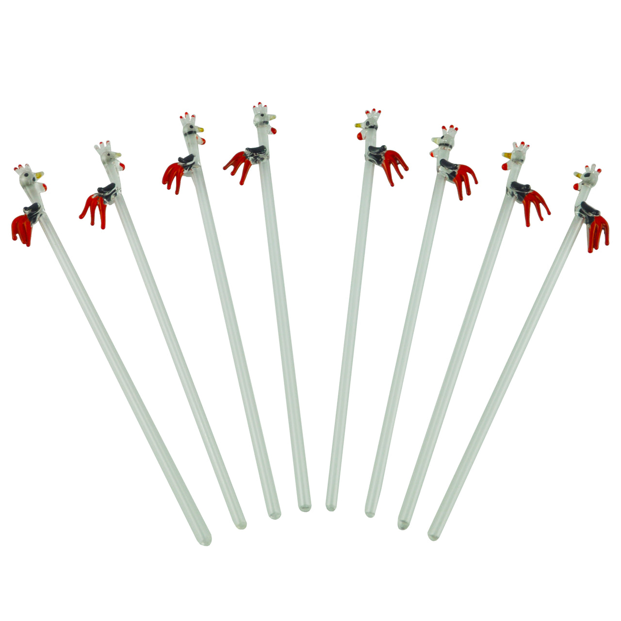 Vintage Rooster Tip Glass Stir Swizzle Sticks, The Hour Shop